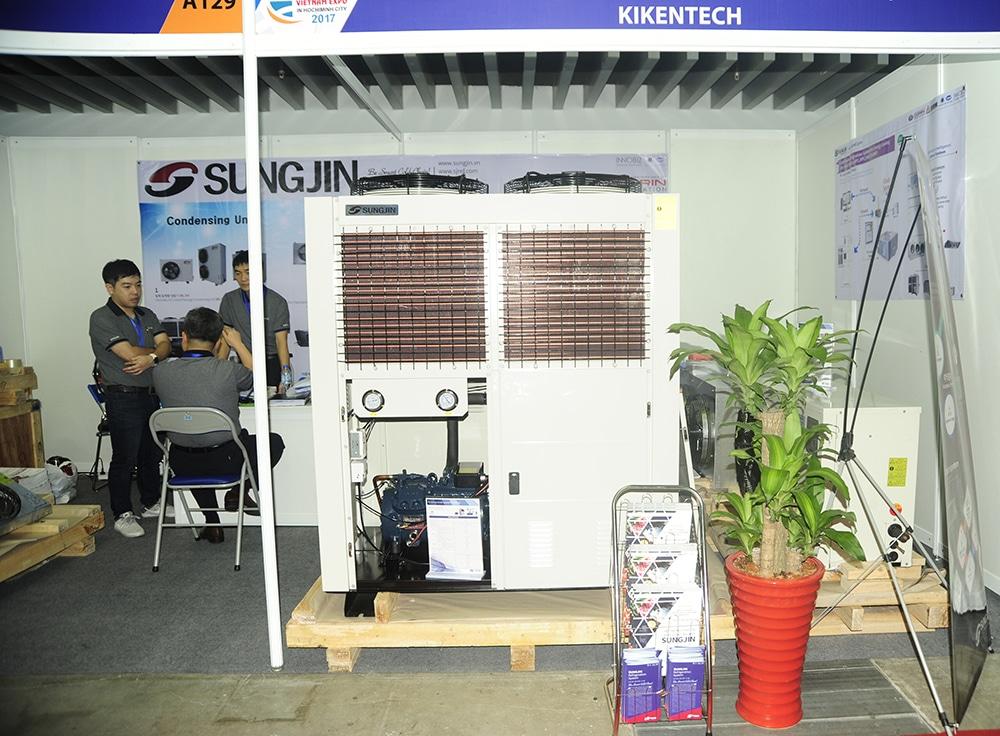 Hướng dẫn cách lắp đặt cụm máy kho lạnh, cụm máy nén dàn ngưng, dàn lạnh kho lạnh chi tiết nhất. Lắp đặt cụm máy kho lạnh, cụm máy nén dàn ngưng Sungjin