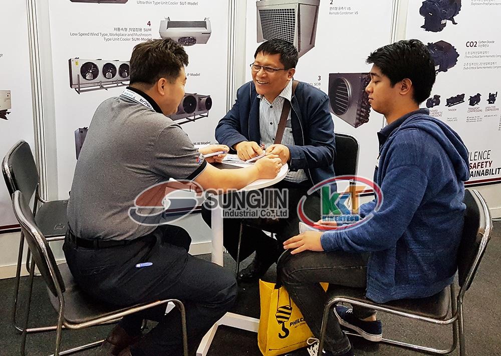 Triễn lãm giới thiệu sản phẩm Sungjin tại Philippines thành công tốt đẹp. Hình ảnh cụm máy nén dàn ngưng, dàn lạnh công nghiệp Sungjin Hàn Quốc ở triễn lãm
