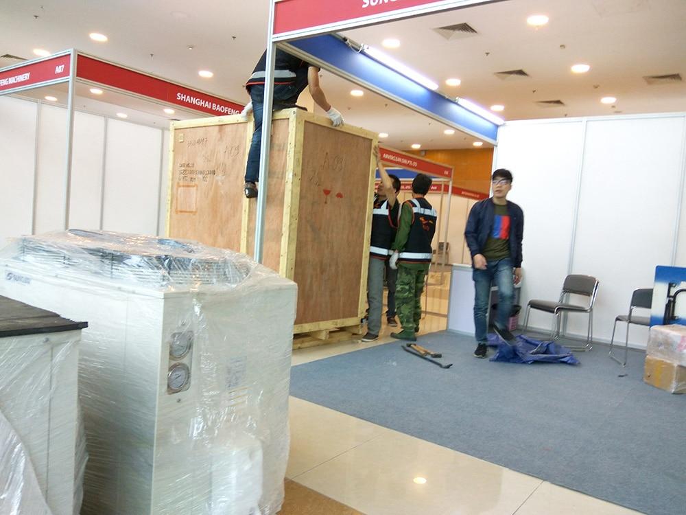 Sáng 16/4 công ty kho lạnh Kikentech bắt đầu vận chuyển và trang trí gian hàng triển lãm giới thiệu sản phẩm Sungjin tại Hà Nội. Công ty Kikentech chuẩn bị triển lãm HVACR 2018 tại Hà Nội. Công việc sửa soạn chuẩn bị cho triển lãm, trang trí triển lãm giới thiệu sản phẩm Sung Jin