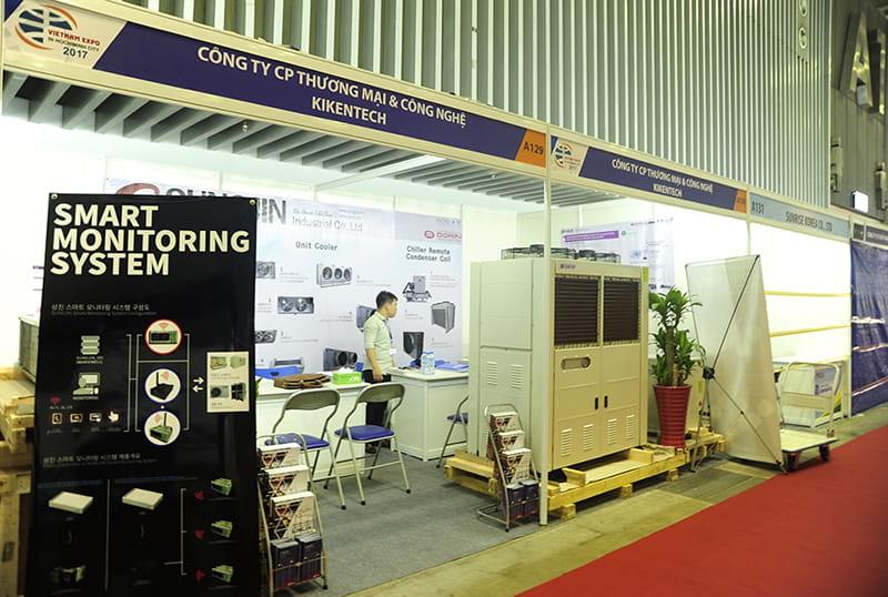 Hình ảnh cụm máy nén dàn ngưng SPHD xuất hiện tại triễn lãm giới thiệu sản phẩm Sungjin.